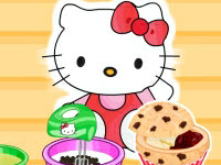Hello kittys choc chip jelly muffins